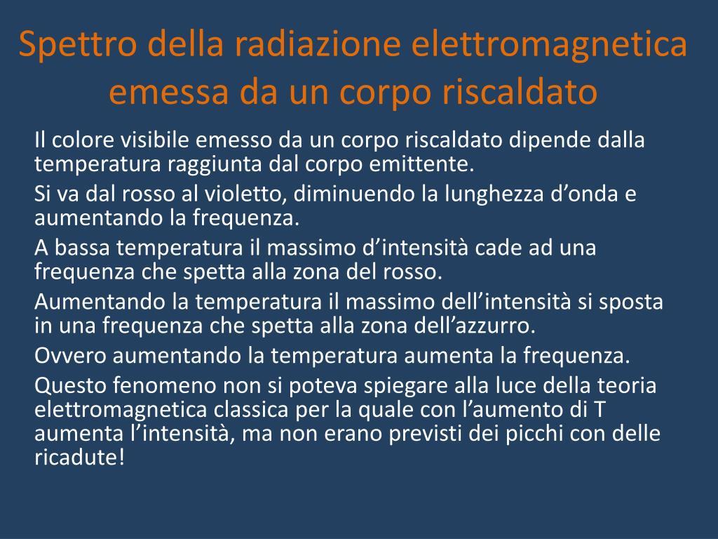 Spettro della radiazione elettromagnetica emessa da un corpo riscaldato