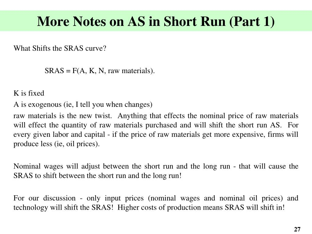 More Notes on AS in Short Run (Part 1)