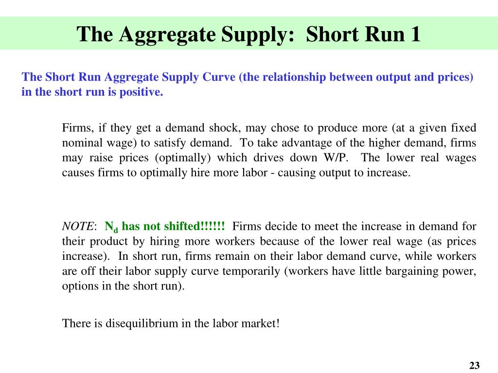 The Aggregate Supply:  Short Run 1
