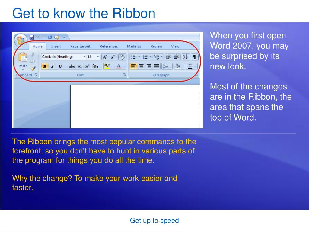 Get to know the Ribbon
