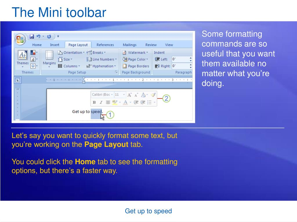 The Mini toolbar