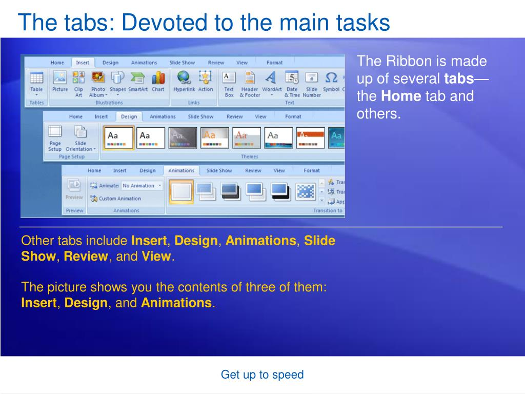 The tabs: Devoted to the main tasks