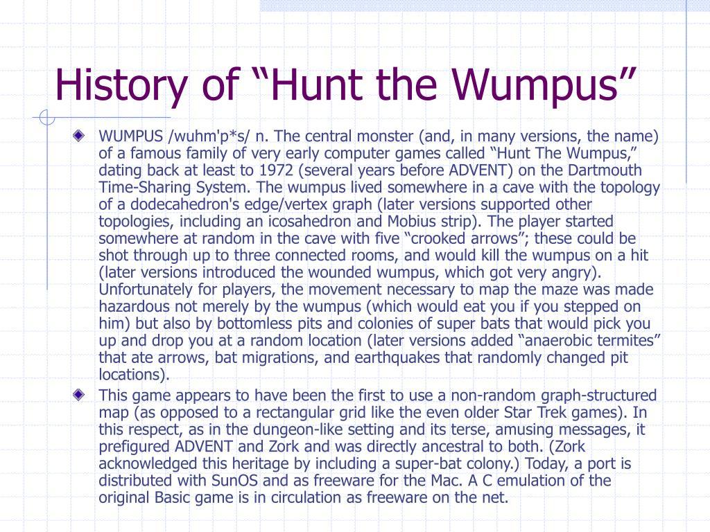 "History of ""Hunt the Wumpus"""