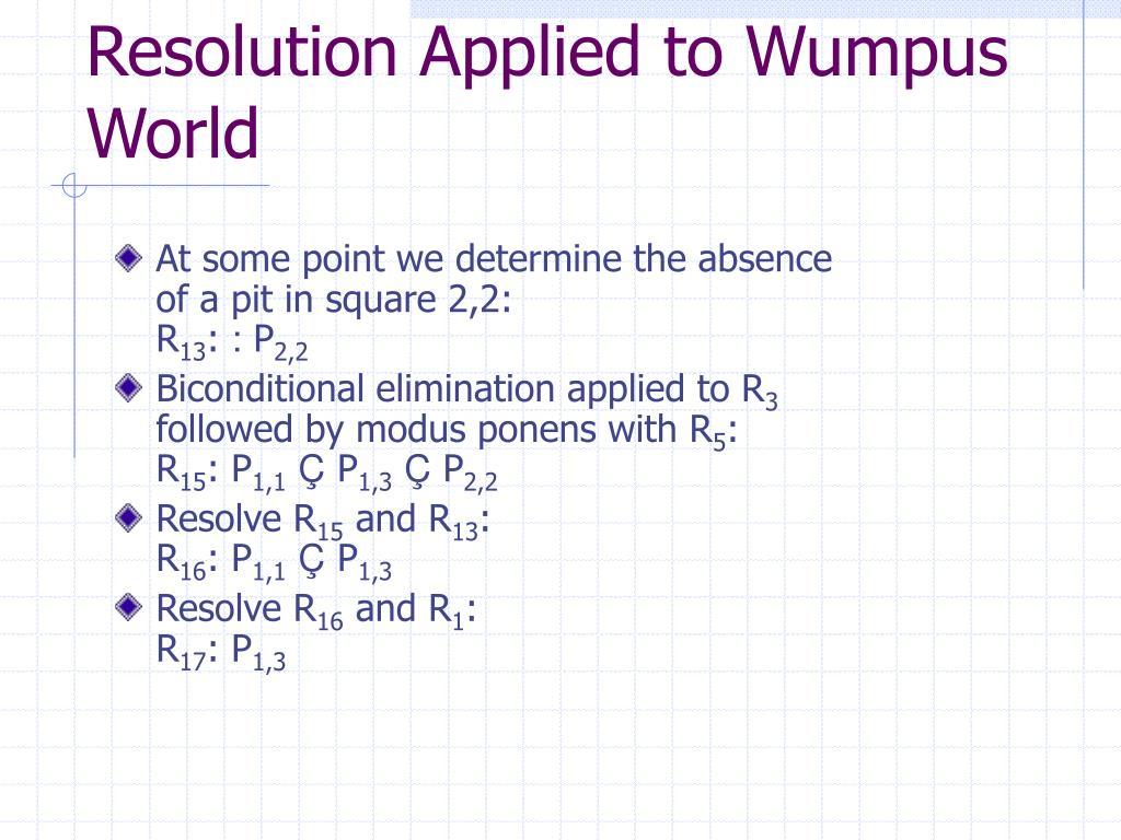 Resolution Applied to Wumpus World
