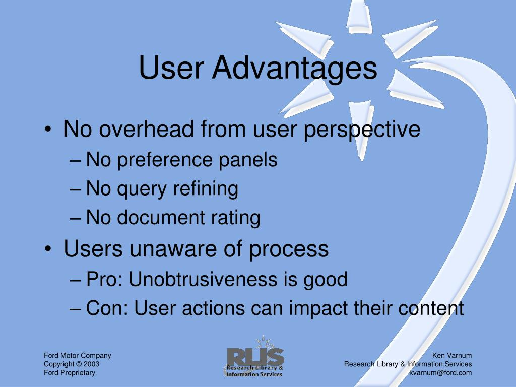 User Advantages