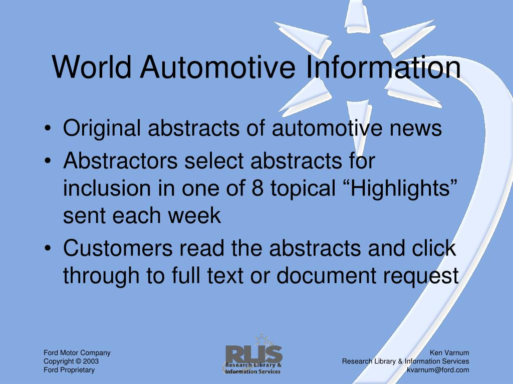 World Automotive Information