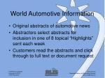 world automotive information