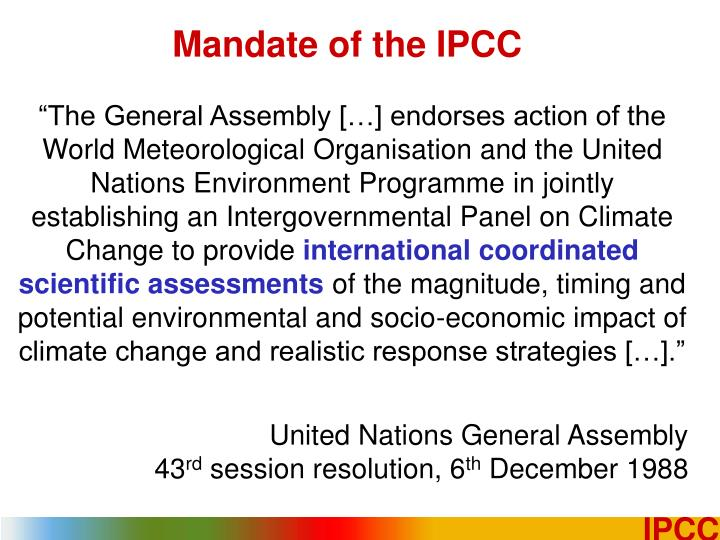 Mandate of the IPCC