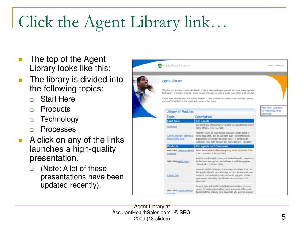 Click the Agent Library link…