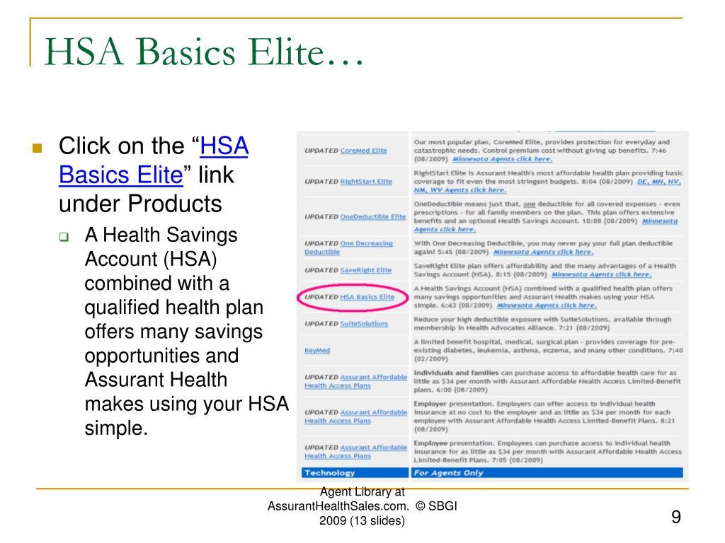 HSA Basics Elite…