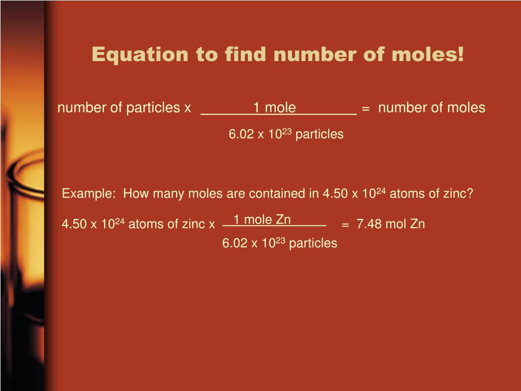 Equation to find number of moles!
