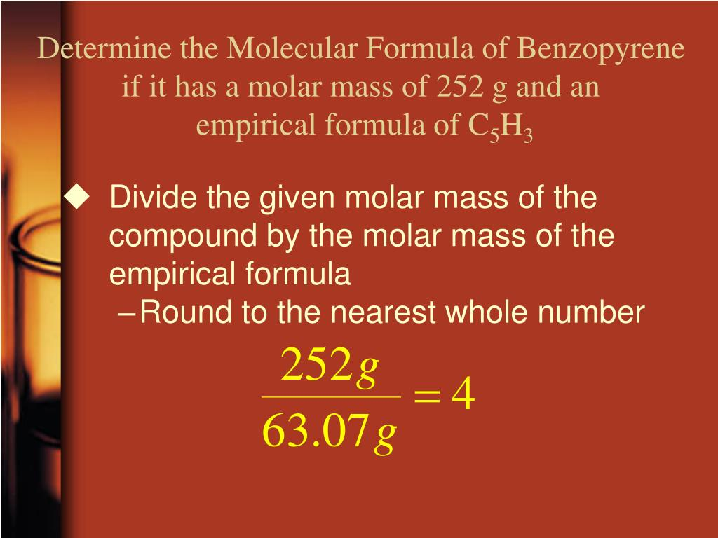 Determine the Molecular Formula of Benzopyrene