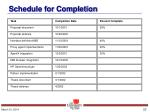 schedule for completion
