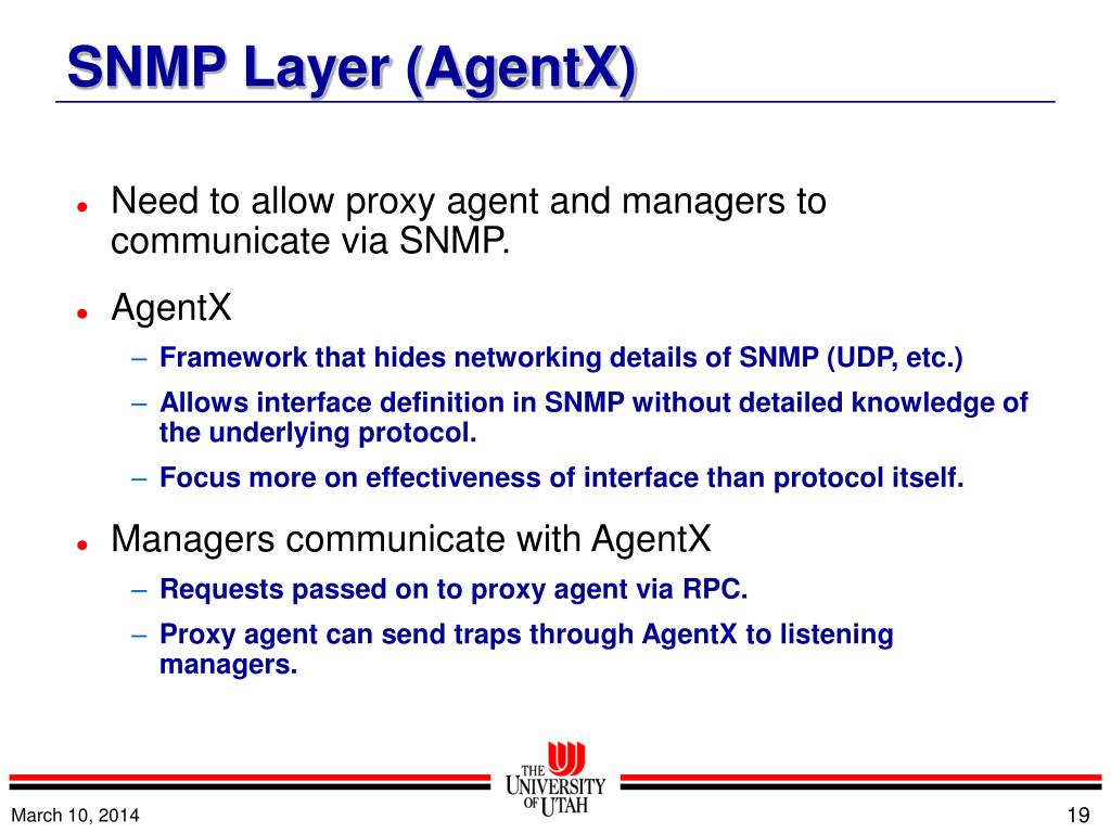 Need to allow proxy agent and managers to communicate via SNMP.
