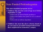 state funded prekindergarten