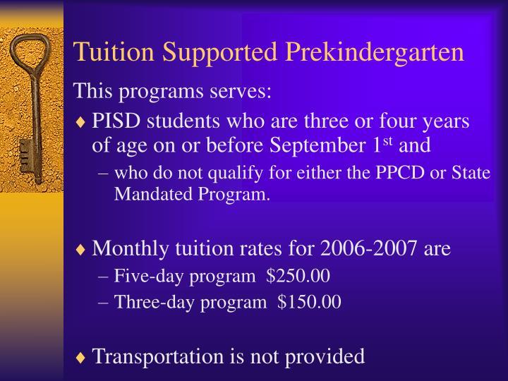 Tuition Supported Prekindergarten
