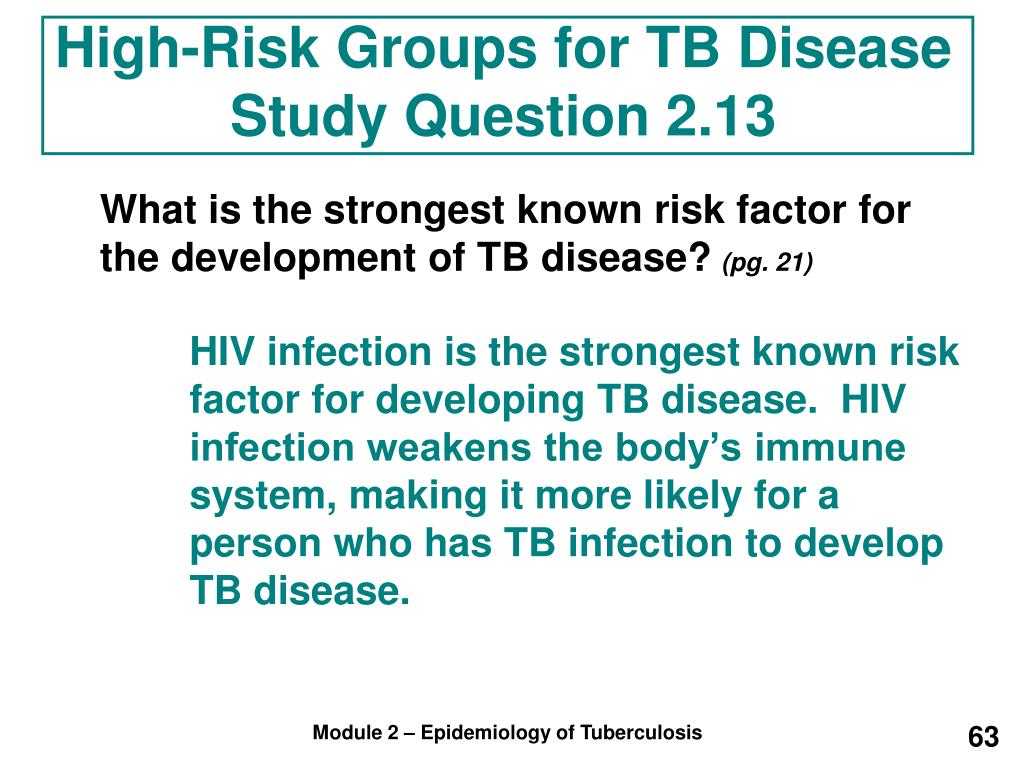 High-Risk Groups for TB Disease