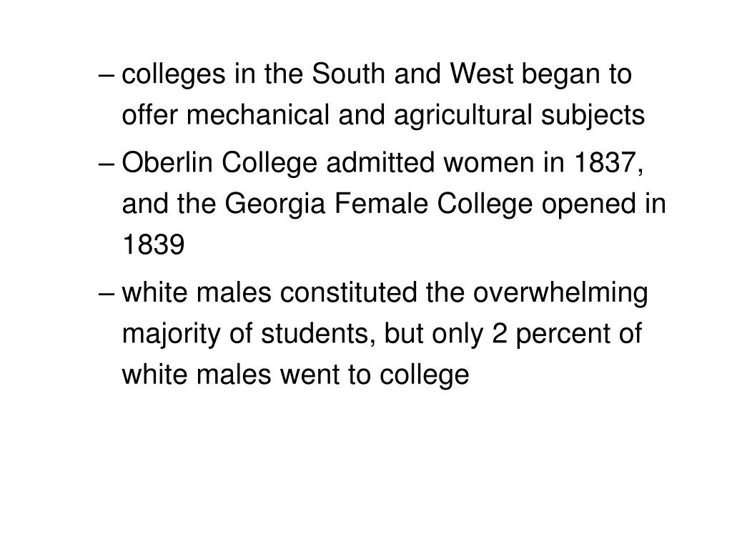 colleges in the South and West began to offer mechanical and agricultural subjects