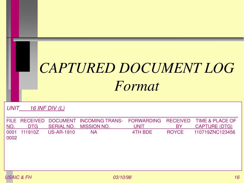 CAPTURED DOCUMENT LOG Format