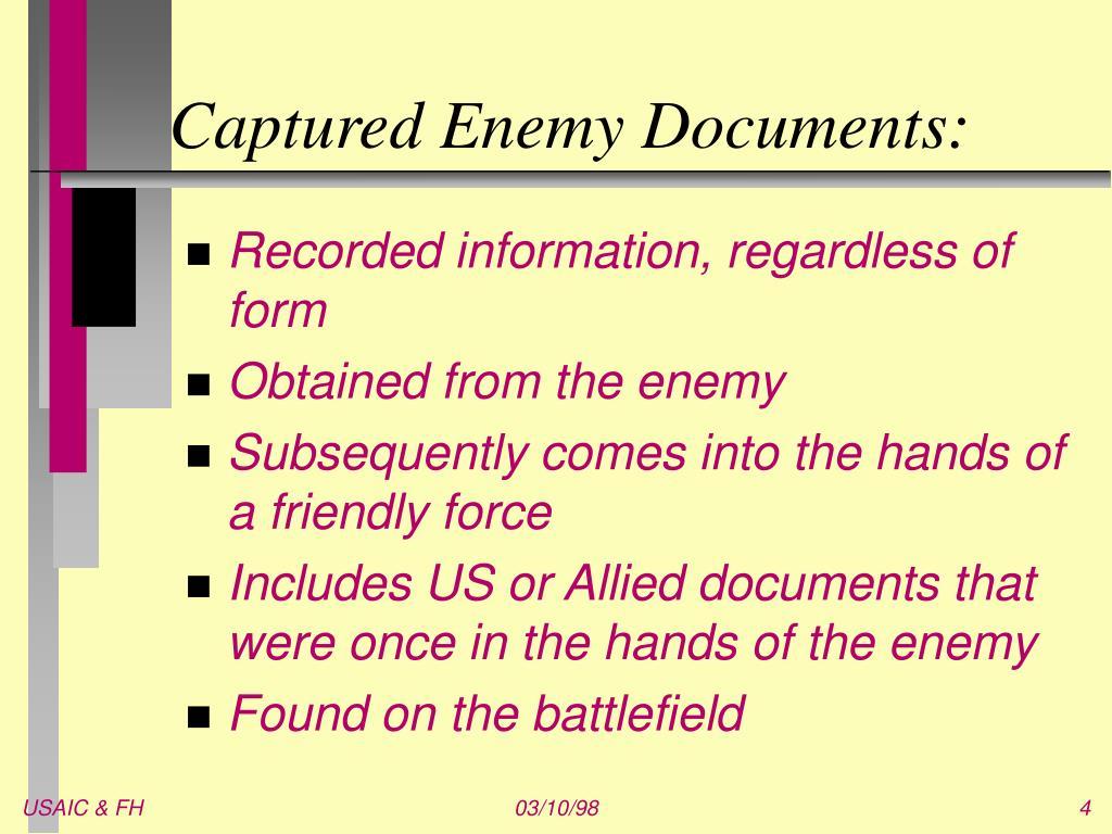 Captured Enemy Documents: