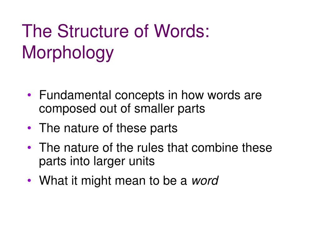 The Structure of Words: Morphology