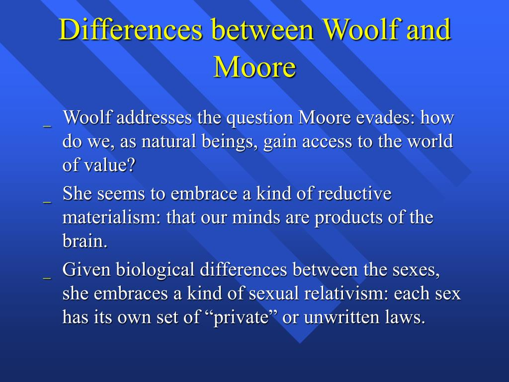 Differences between Woolf and Moore