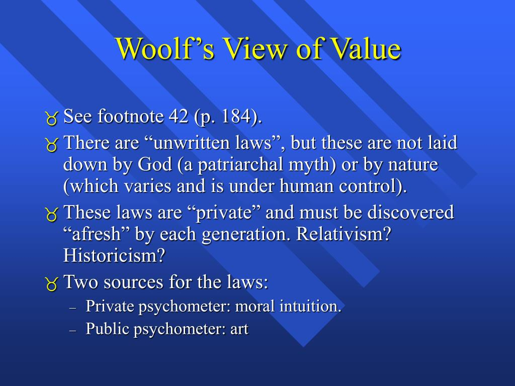 Woolf's View of Value