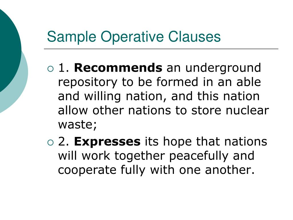 Sample Operative Clauses