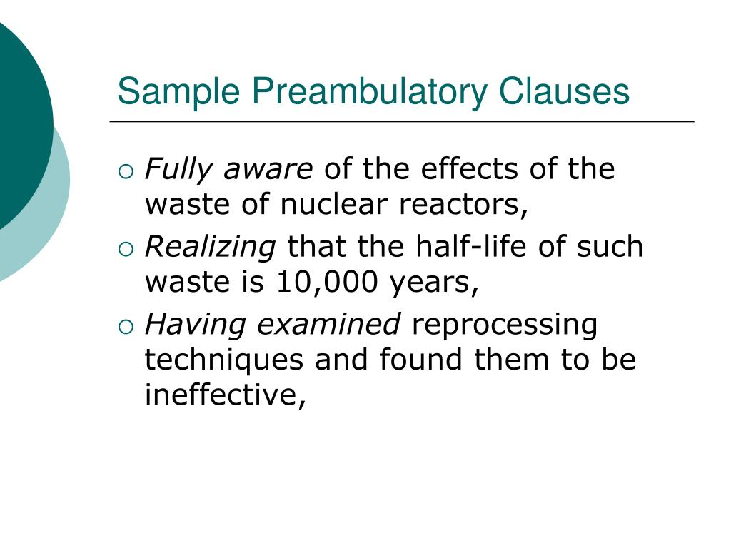 Sample Preambulatory Clauses