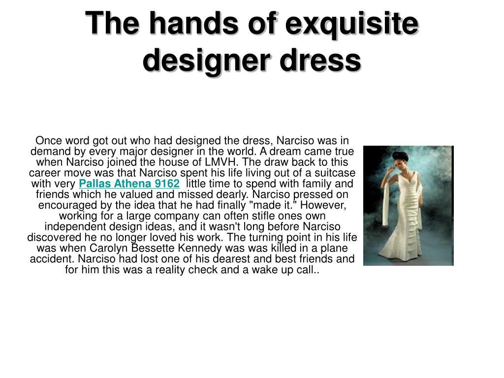 The hands of exquisite designer dress
