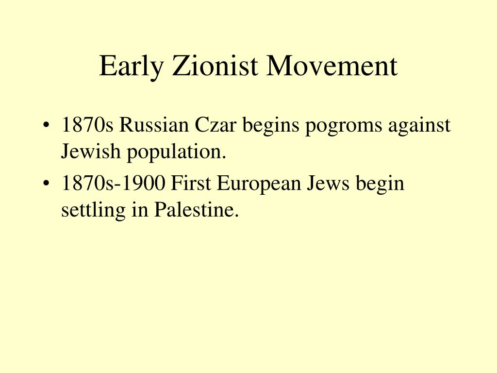 Early Zionist Movement