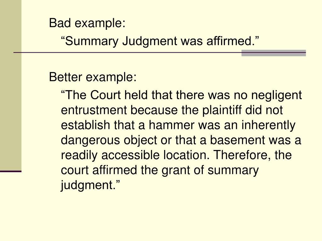 Bad example: