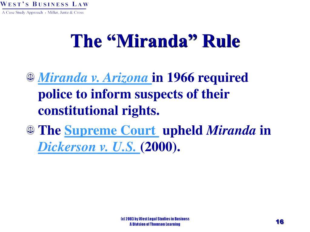 """The """"Miranda"""" Rule"""