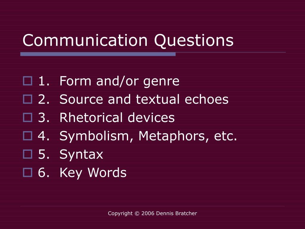 Communication Questions