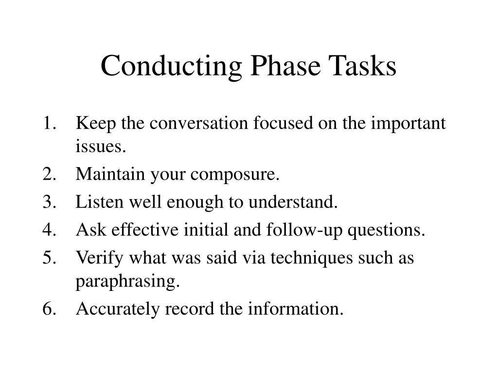 Conducting Phase Tasks