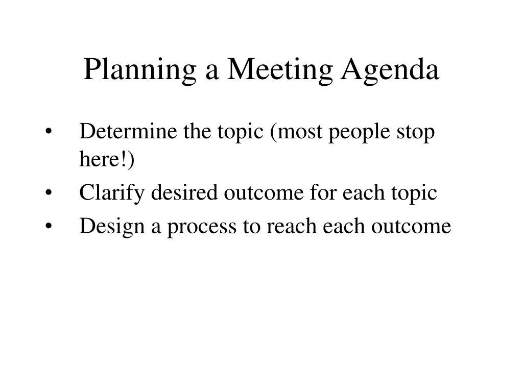 Planning a Meeting Agenda