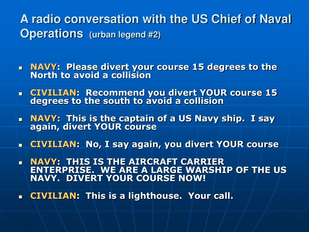 A radio conversation with the US Chief of Naval Operations