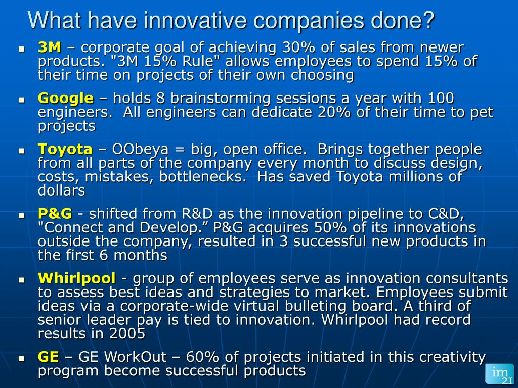 What have innovative companies done?