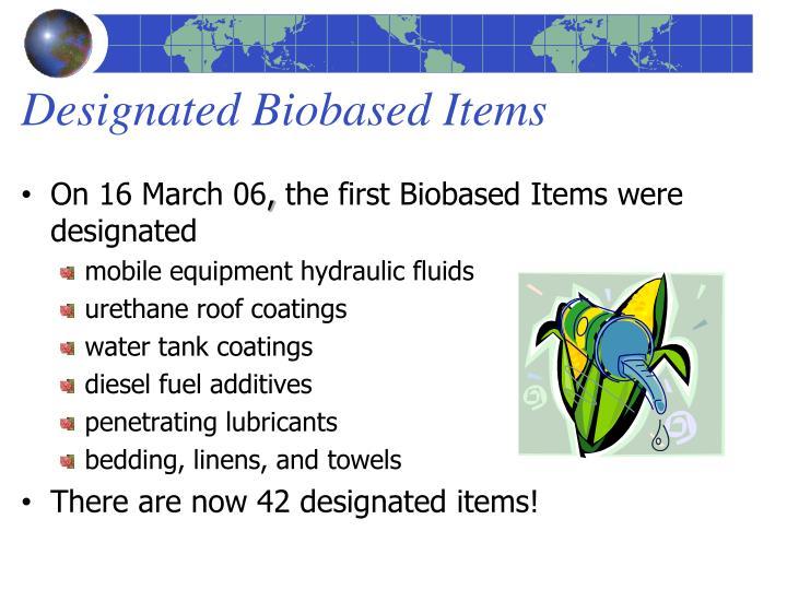 Designated Biobased Items