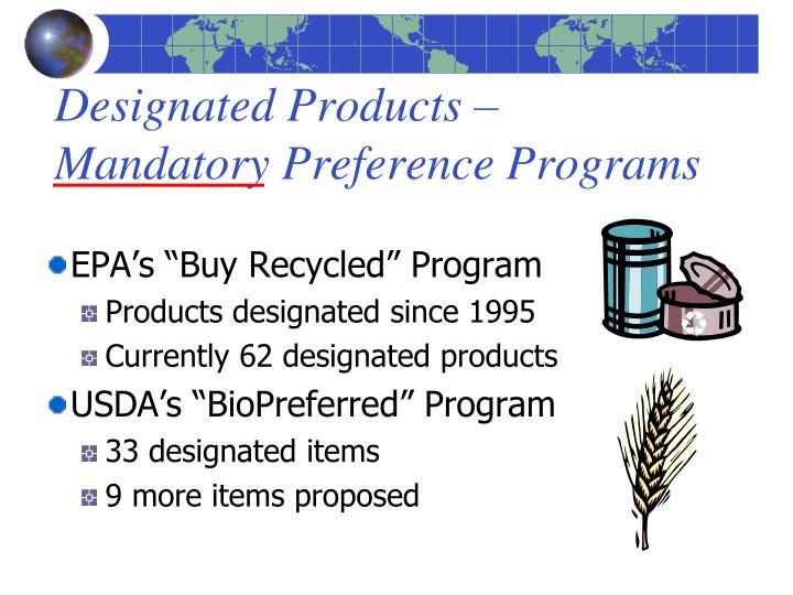 Designated Products –