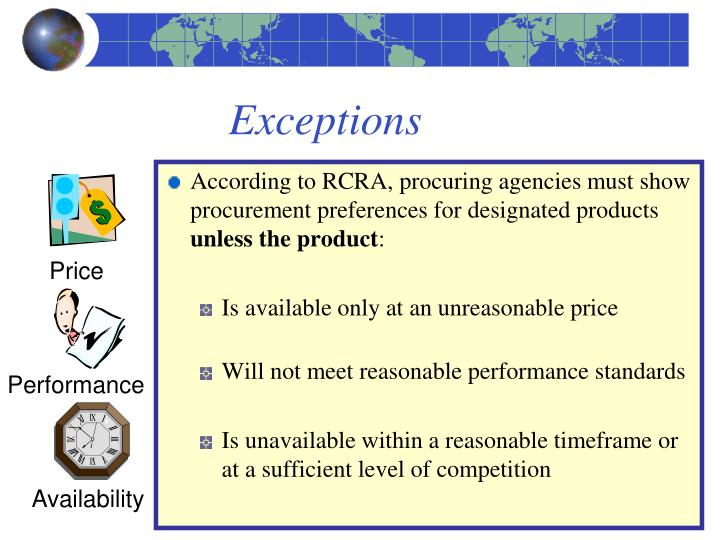 According to RCRA, procuring agencies must show procurement preferences for designated products