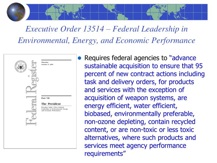 Executive Order 13514 – Federal Leadership in Environmental, Energy, and Economic Performance