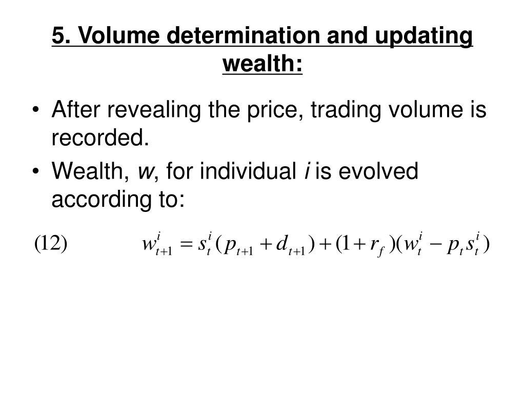 5. Volume determination and updating wealth: