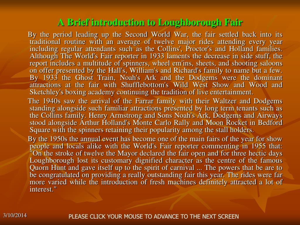 A Brief introduction to Loughborough Fair