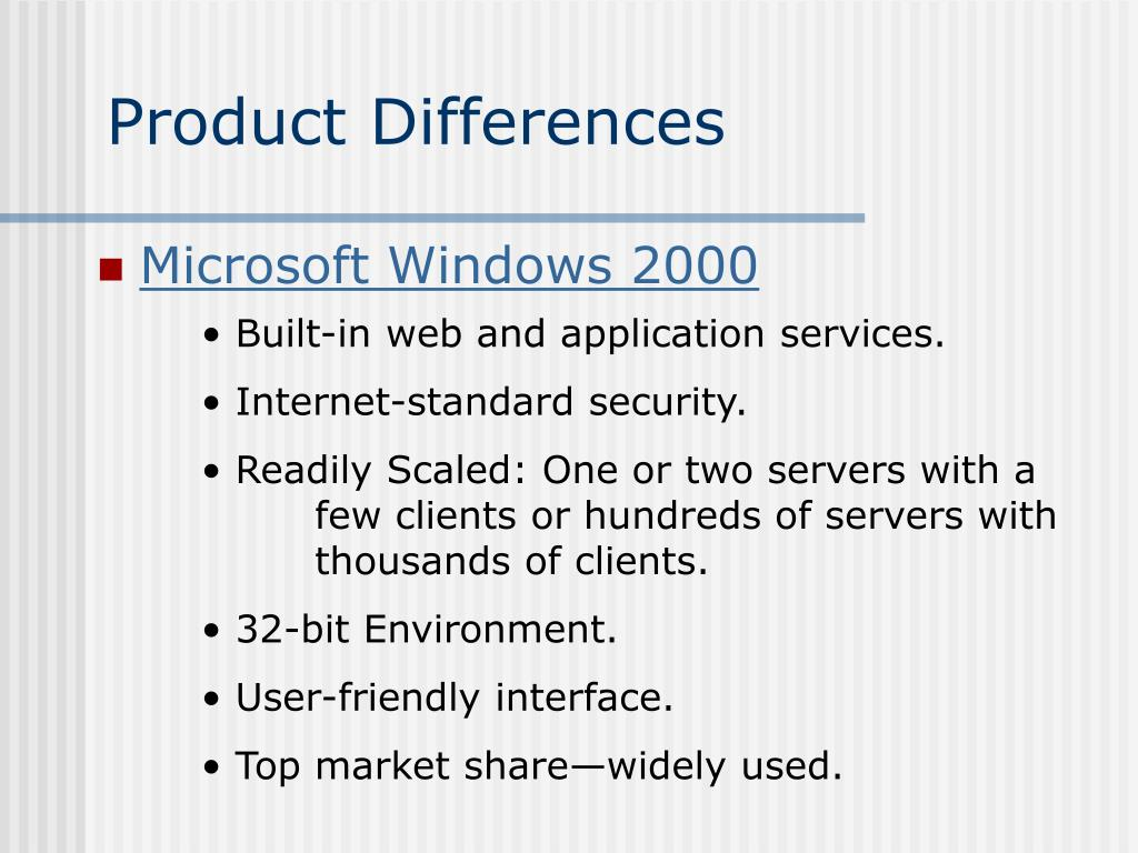 Product Differences