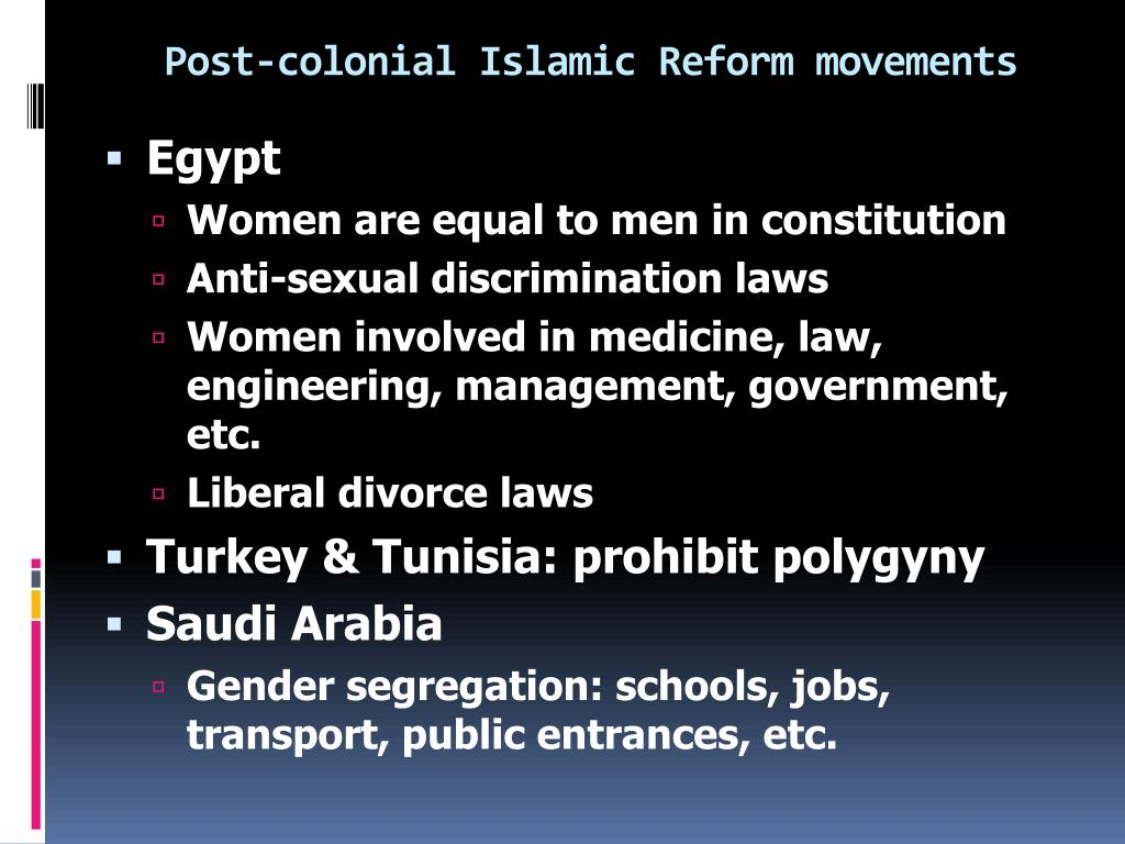 Post-colonial Islamic Reform movements