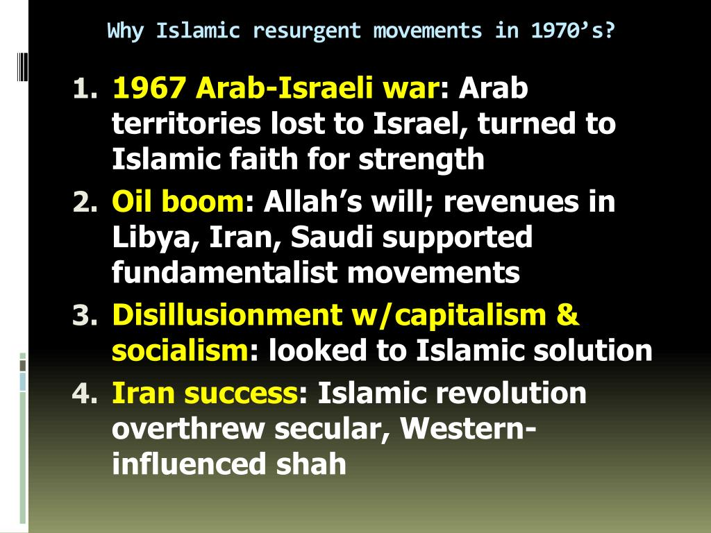 Why Islamic resurgent movements in 1970's?
