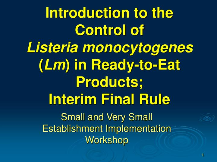 Introduction to the Control of