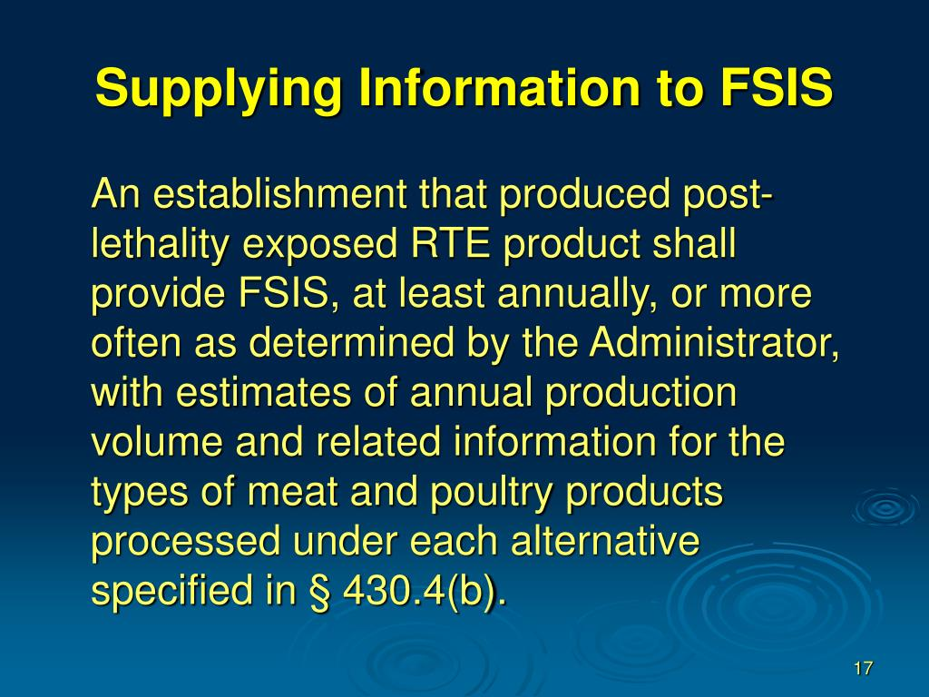 Supplying Information to FSIS