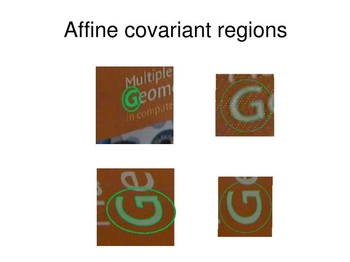 Affine covariant regions